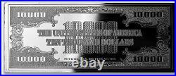 $10,000 1934 PROOF 4oz CURRENCY UNC SILVER BAR + VELVET GIFT BOX + CASE + COA