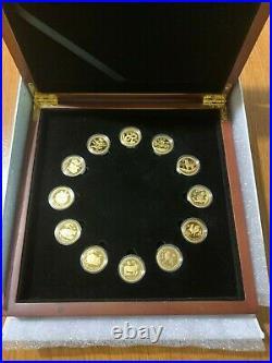 12 x 1/10 oz proof gold lunar II 2 set series 2008 2019 coa wooden box