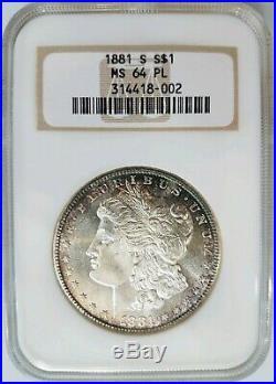 1881 S Silver Morgan Dollar NGC MS 64 PL Proof Like Toned Toning Soap Bar Box