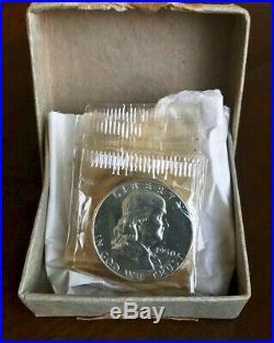1950 Silver PROOF BOX Set 5 Coins US Mint 1c 5c 10c 25c 50c Orig. Box & cello
