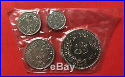 1964 -egypt- 4 Unc Sealed Silver Proof Coins, Nice Red Box. Rare. Low Mintage