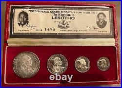 1966 Lesotho 4 Coins Silver Proof Set 5+10+20+50 Licente Original Box+coa #1479