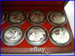 1969 Tunisia 10 Piece Sterling Silver Dinar Proof Set with Original Box