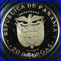 1974 Panama 20 Balboas Simon Bolivar Silver Proof Commemorative Coin-withBox