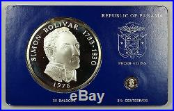 1976 Panama 20 Balboa Simon Bolivar 2 Pc. 925 Silver Proof Coin Set withBox & COA