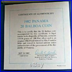 1982 Panama 20 Balboa Silver Proof Coin with Box and COA, Rare GEM