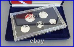 1983 Macau/macao Set Of 5 Proof Silver Coins With Original Box