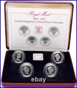 1984 1987 £1 Silver Proof Coin Collection Royal Mint Set BOX + COA