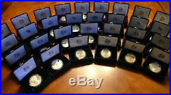 1986-2017 Complete (31 Coin) American Proof Silver Eagle Set withBox, Case & COA