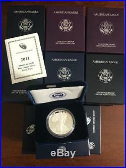 1986-2018 American Eagle Silver Proof Box + Coa Lot of 32 Set