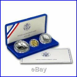 1986 Liberty Three Coin Proof Set 2 Silver (s) 1 Gold 1/4 oz. (w) Box withCOA