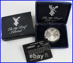 1986 MEXICO Proof Libertad 1 Onza 1 Oz SILVER Uncirculated Coin Box + COA B1729
