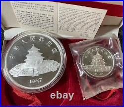 1987 CHINA 50 YUAN & 10 YUAN PANDA PROOF SET 5 OZ & 1 OZ SILVER With BOX & COA