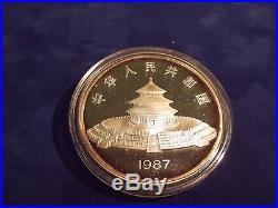 1987 China 5oz Silver PROOF Panda Coin-50 Yuan with BOX and COA
