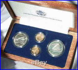 1987 Constitution 4 Coin set, Gold & Silver, Both Proof and UNC, In Box with COA