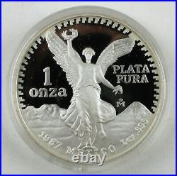 1987 MEXICO Proof Libertad 1 Onza 1 Oz SILVER Uncirculated Coin Box + COA B1655