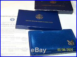 1987 S 2 COIN US CONSTITUTION PROOF SET. 24 OZ GOLD $5 SILVER $1 WithCOA & BOX