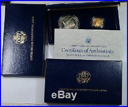 1987 U. S. Mint Constitution $1 Silver + $5 Gold Proof Coin Set- withBox & COA