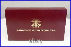 1988 US Mint $1 Silver $5 Gold Olympic Proof 2 Coin Commemorative Set with Box COA