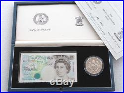 1990 Deluxe £5 Five Pound Silver Proof Coin £5 Five Pound Banknote Set Box Coa