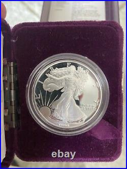 1990 S American Silver Eagle Proof Silver Dollar with Box/COA
