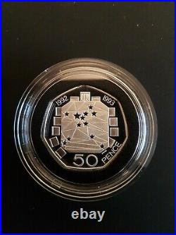 1992 -1993 Silver Proof 50p Fifty Pence EEC Box and COA. Very Rare
