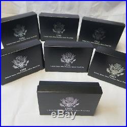 1992-1998 90% Silver United States Premier Proof Sets All 7 US Mint Box & COA