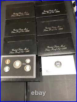 1992 1998 Silver Proof Set Lot Run United States Mint OGP Box COA Collection