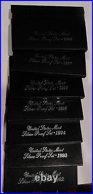 1992 through 1998 set of 7 SILVER PROOF SETS COMPLETE RUN ALL ORIGINAL BOX COA