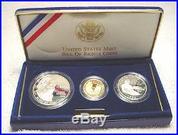 1993 Bill of Rights 3 Coin Proof Set, with Gold & Silver, by US Mint In Box, COA