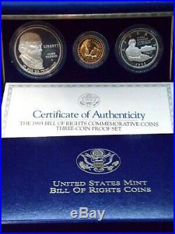 1993 S Bill of Rights 3 Coin Proof Set Gold & Silver Box & COA ECC&C, Inc