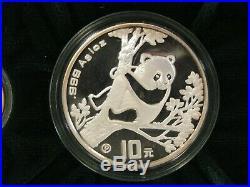 1994 China Prestige Panda PROOF. 999 Gold & Silver 3-Coin Box Set with COA
