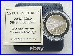 1994 Czech Republic Normandy Landings 50th Anniv 200KC Silver Proof Coin Box Coa