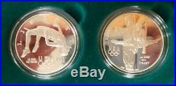1995-96 US Mint Atlanta Olympic Silver Proof Set 8 Coins with Box and COA