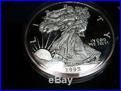 1995 Silver Proof Eagle 8 Troy Ounces 999 Box COA