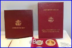 1995 W 10th Anniversary American Eagle Proof Set Gold & Silver Org Box & COA