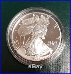 1995-W 5 COIN PROOF AMERICAN EAGLES 10TH ANNIVERSARY SET With BOX & COA