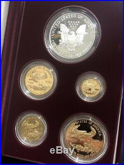 1995-W American Eagle 10th Anniversary Gold & Silver Proof Set Box & COA