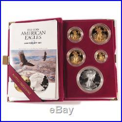 1995-W Proof American Gold Silver Eagle 5pc. Set, Box, OGP & COA