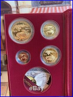 1995w Proof American Gold Eagle 5-coin Set Mint Box, Coa, Gold Foil No Silver Coin