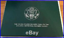 1996 Atlanta Olympic 8 Coin Proof Silver Dollar Set with US Mint Box + COA