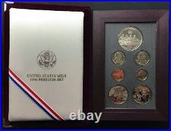 1996 Olympics Atlanta US Mint Prestige 90% Silver Proof Box Set with Box COA