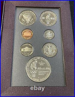 1996 Prestige US Mint 7 Coin Proof Set, Atlanta Olympics Silver Dollar Box/COA