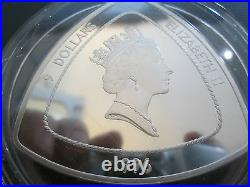 1996 ROYAL MINT Bermuda Triangular $9 Nine Dollar Silver Proof 5oz Coin box/Coa