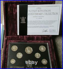 1996 UK SILVER PROOF ANNIVERSARY 7 COIN COLLECTION With box/coa