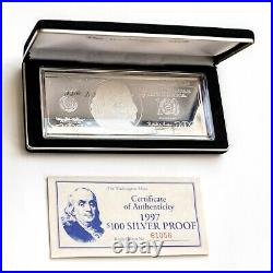 1997 $100 Ben Franklin Proof Bar in Box with COA 4 TROY OZ. 999 Fine Silver