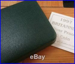 1997 Royal Mint Britannia 1st Year £2 Two Pound Silver Proof 1oz Coin Box Coa