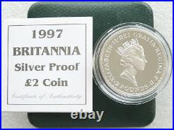 1997 Royal Mint Britannia £2 Two Pound Silver Proof 1oz Coin Box Coa