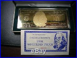 1998 Proof $100 SILVER 4 troy ounces Box COA
