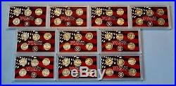 1999 2008 90% Silver Proof Quarter Sets- 50 Coins1999 through 2008 -No Box/COA